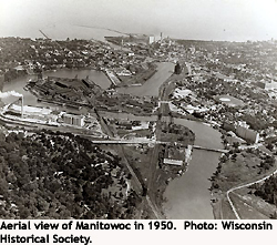 Aerial view of Manitowoc in 1950.