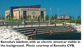Kenosha's Lakefront with an electric streetcar visible in the background. Photo courtesy Kenosha CVB