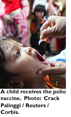 A child receives a polio vaccine