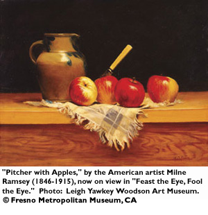 Pitcher with Apples by the American artist Milne Ramsey (1846-1915), now on view in 'Feast the Eye, Fool the Eye.'