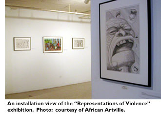 An installation view of the 'Representations of Violence' exhibition. Photo: courtesy of African Artville.