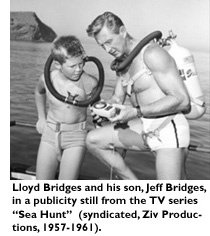 Lloyd Bridges and his son, Jeff Bridges, in a publicity still from the TV series 'Sea Hunt' (syndicated, Ziv Productions, 1957-1961).