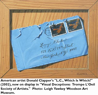 American artist Donald Clappers 'L.C., Which is Which? '(2002), now on display in 'Visual Deceptions: Trompe L'Oeil Society of Artists'